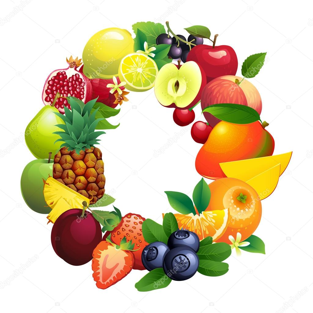 Letter O composed of different fruits with leaves