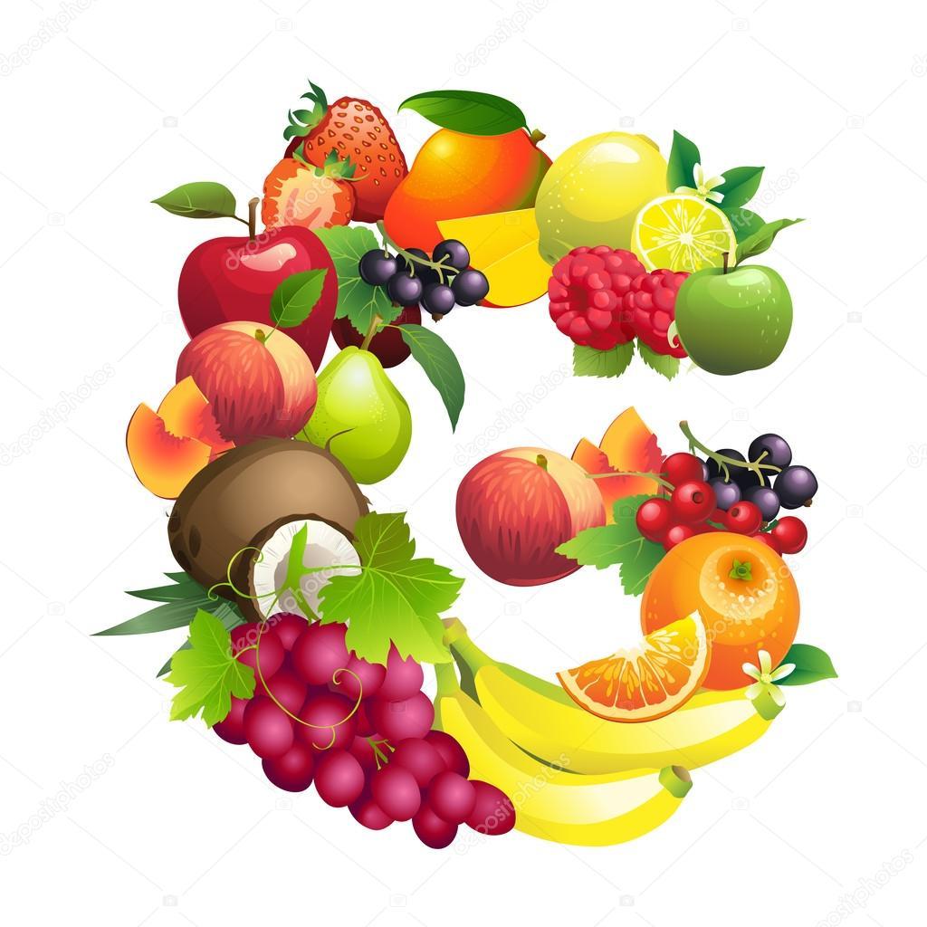 Lettera g composto da diversi tipi di frutta con i fogli - Diversi tipi di figa ...