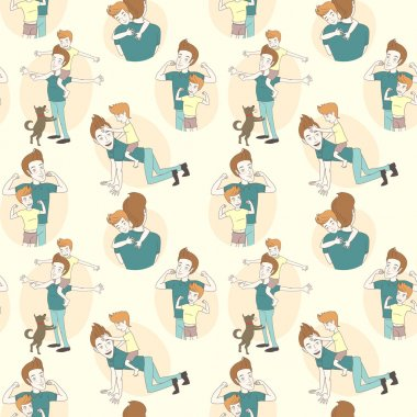 Festive seamless doodle pattern for father's day