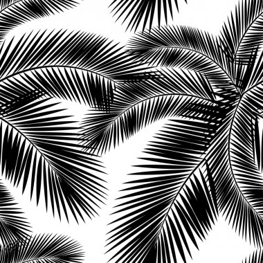 Seamless color palm leaves pattern. Flat style. Black and white