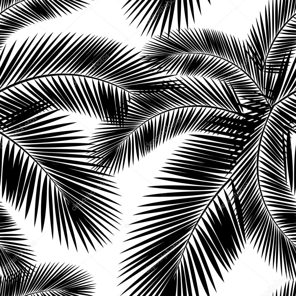 Seamless color palm leaves pattern. Flat style. Black and ...