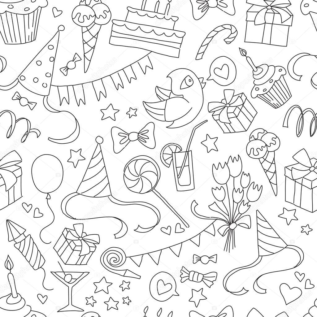 Фон открытки с днем рождения черно-белые