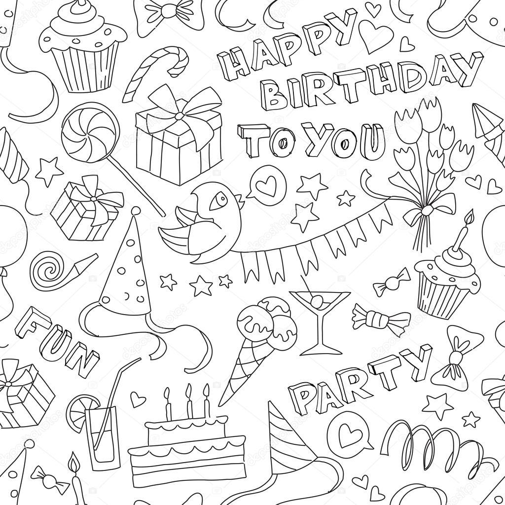 Открытки в день рождения черно белые распечатать