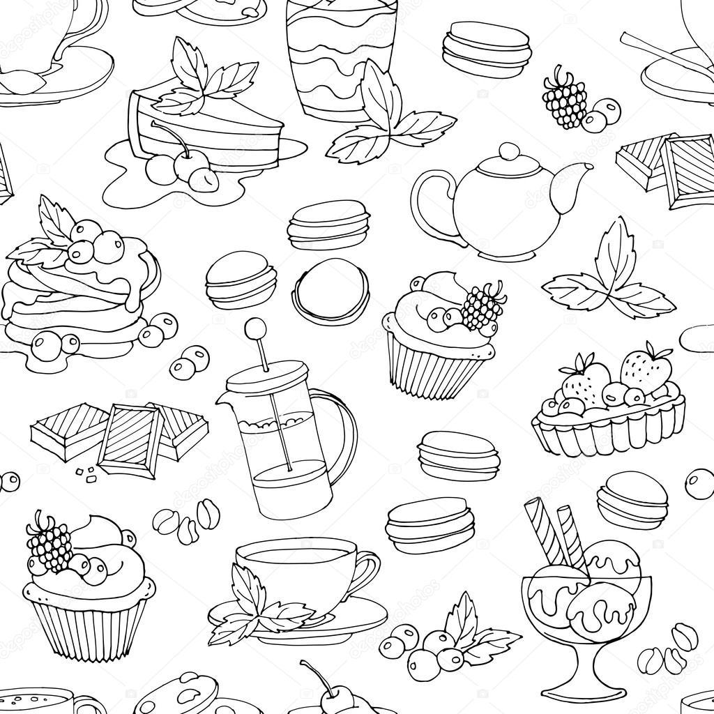 Postres frescos de patrones sin fisuras con café, té, bayas, hielo ...