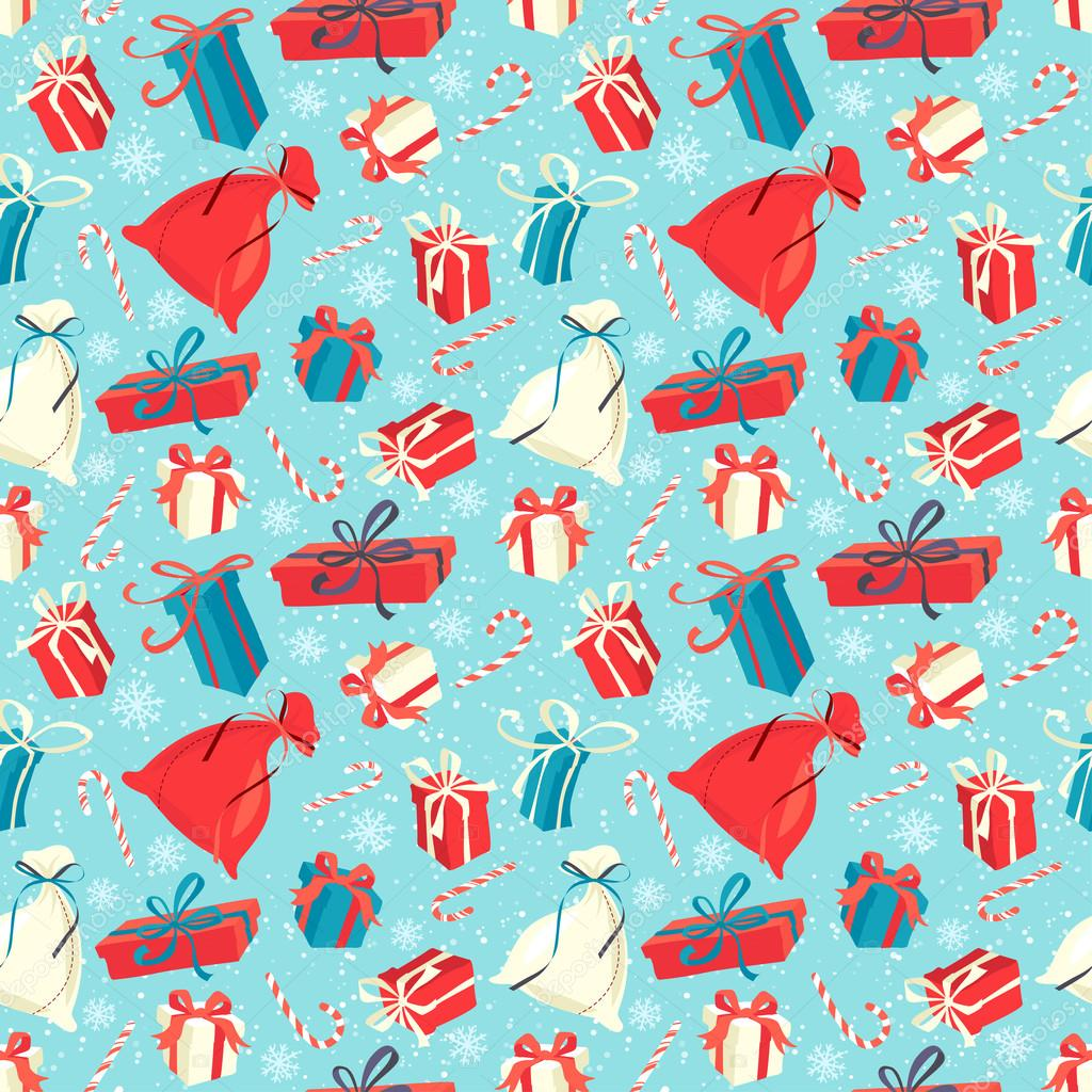 Funny merry christmas seamless pattern with gift boxes and candy funny merry christmas seamless pattern with gift boxes and candy negle Images