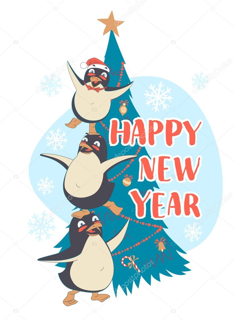 festive funny happy new year card with three penguins pyramid in