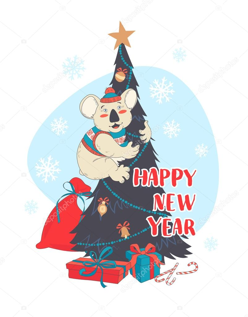 funny happy new year card with koala wearing cute sweater and ha