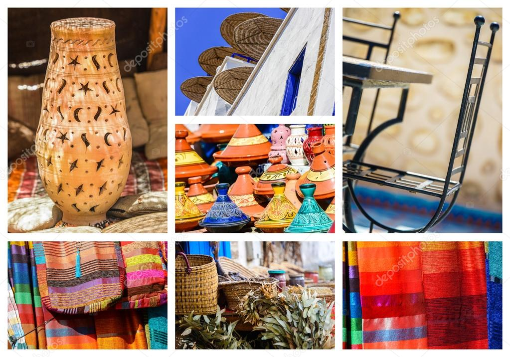 Oggetti Tipici Del Marocco.Composizione Di Oggetti O Luoghi Tipici Del Marocco Foto Stock