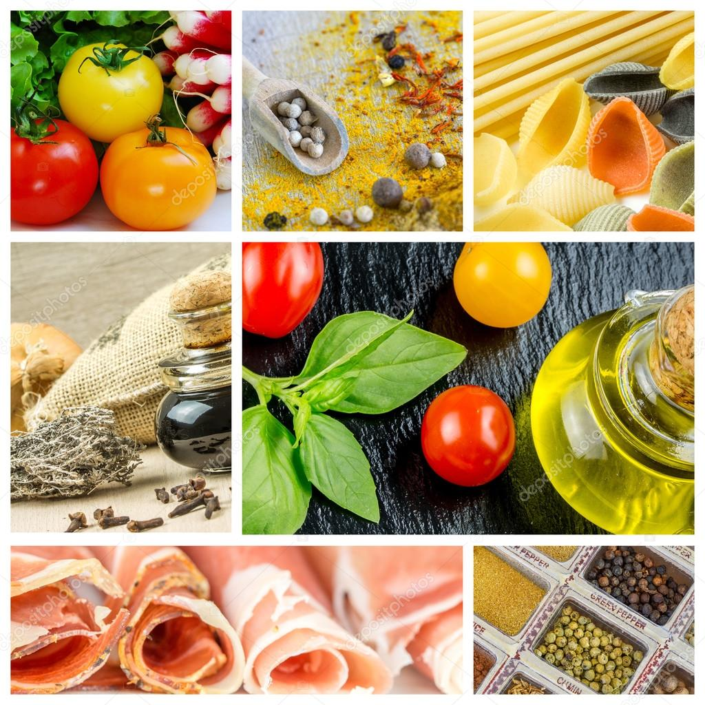 Colorful collage with cooking ingredients