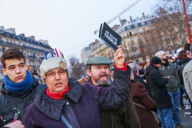 PARIS - France on 08 January 2015 : Peaceful protest in Place de la Republique