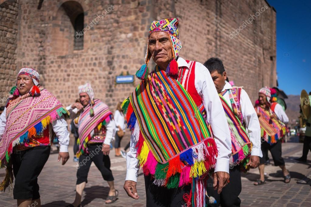 unknown peruvian people on a carnival in cuzco peru stock