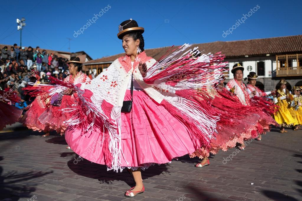 Unknown peruvian people on a carnival in Cuzco, Peru – Stock