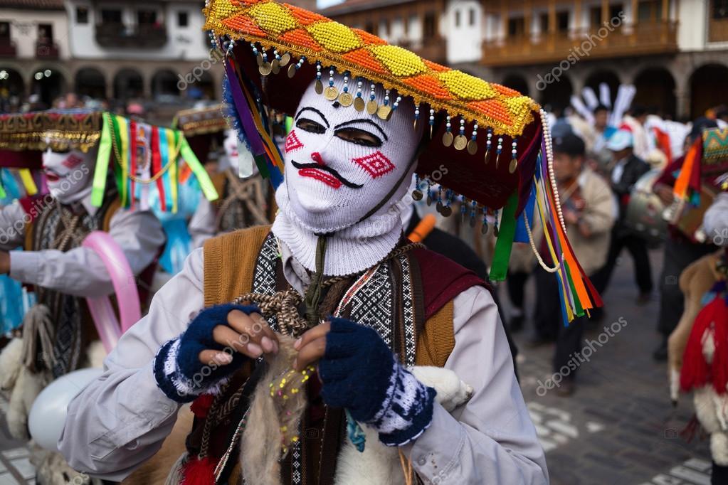 Participants of parade in carnival costumes, Cuzco, Peru – Stock