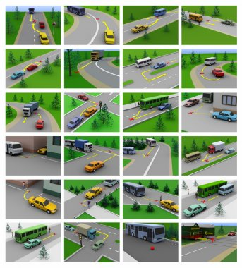 Rules of the road, different situations, accidents, training