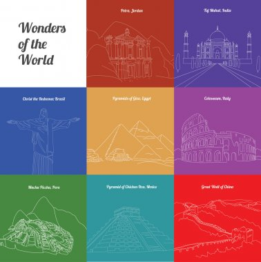 Wonders of the World: Colosseum, Great Wall, Machu Picchu, Petra