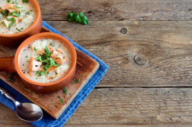 Salmon soup with noodles