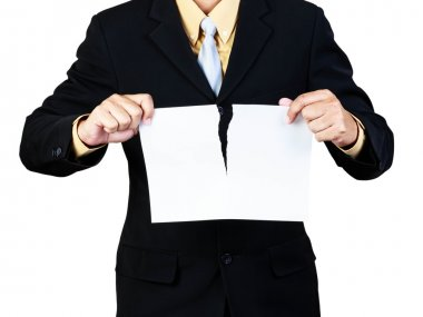 Businessman tear paper concept for breaking contract