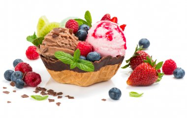 Dessert of  ice cream in a wafer bowl