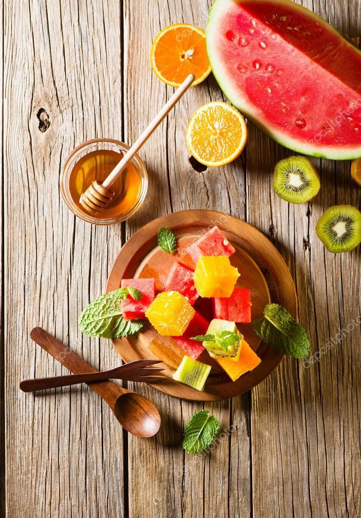 Healthy fruit mix salad, top view