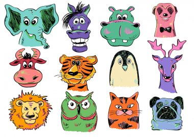 Set Of Funny Cartoon Animal Face Icons.