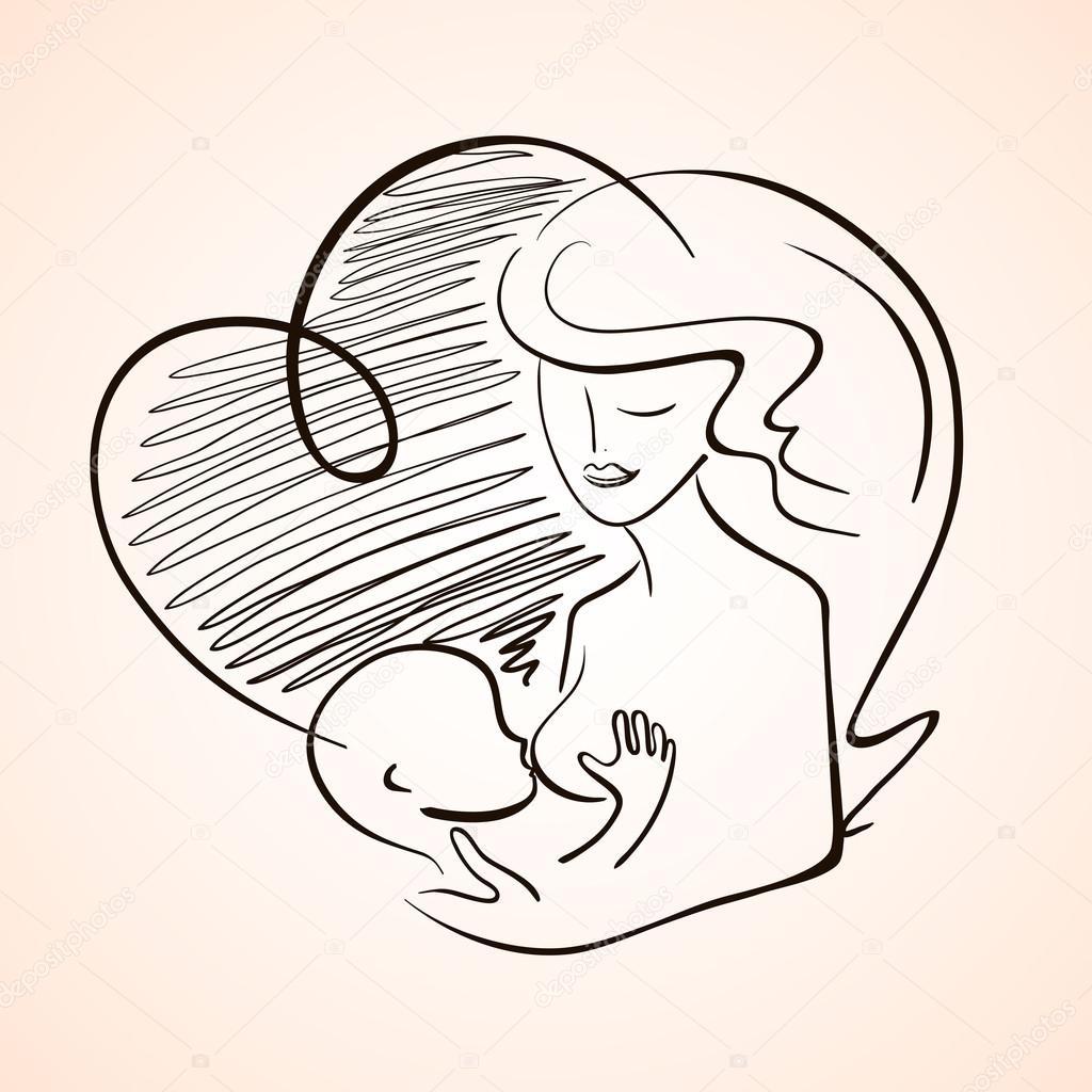 Imágenes Lactancia Para Colorear Madre Lactancia Bebé Niño