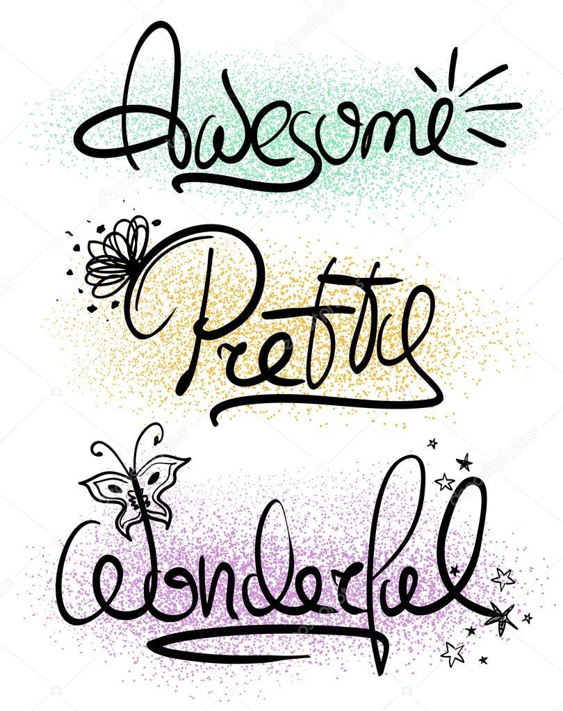 Inspirational Words Typography Handlettering Inspirational Words Stock Vector
