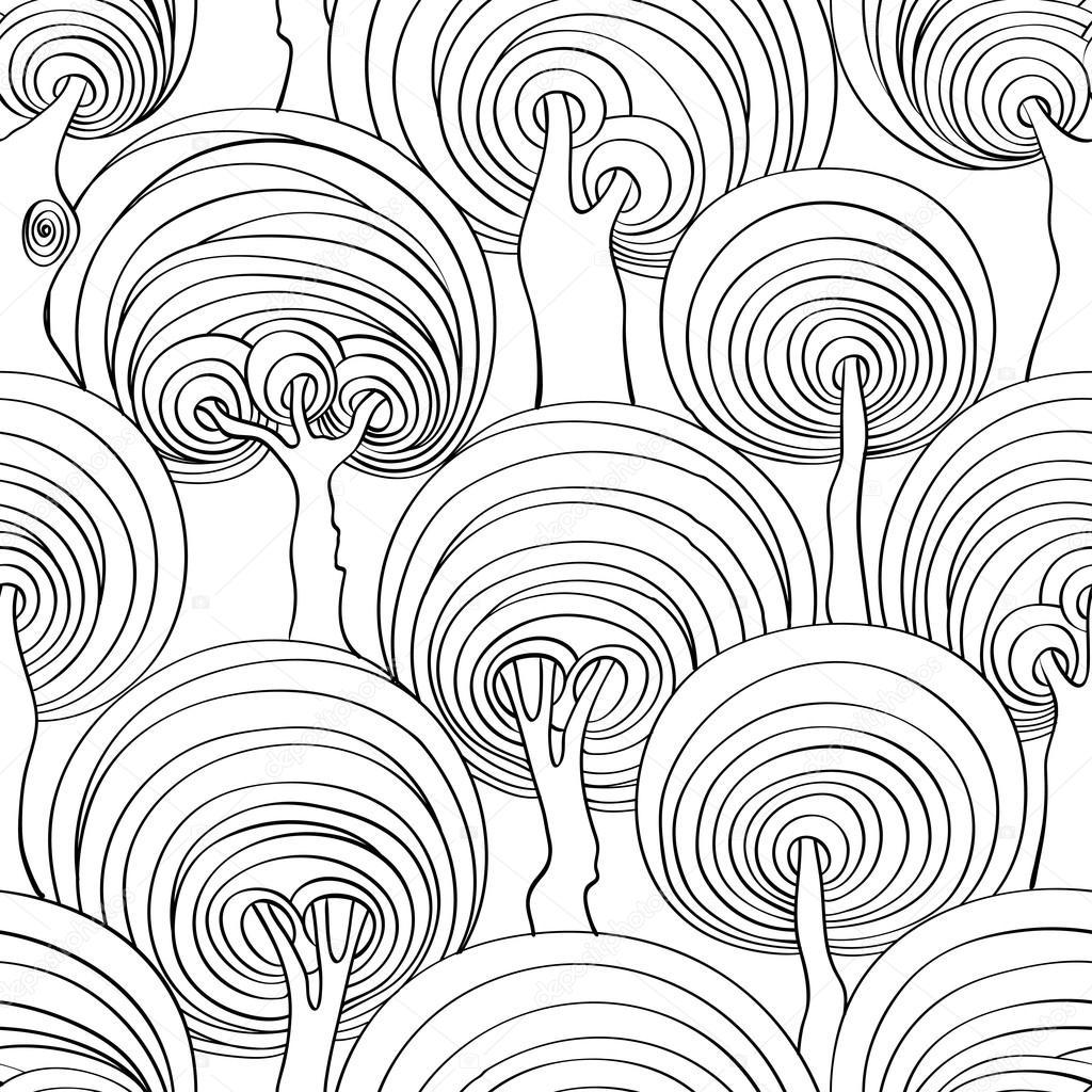 Gráfico de patrones sin fisuras de árboles psicodélicos — Archivo ...