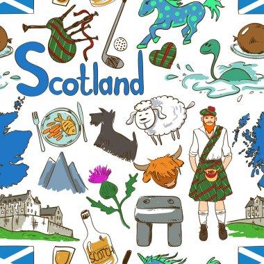 Colorful Scotland Seamless Pattern.