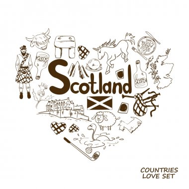 Scotland Symbols In Heart Shape Concept.