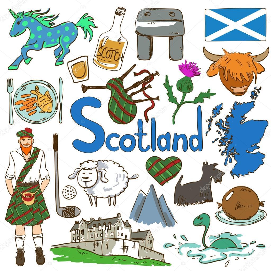 Colorful Travel Concept Of Scotland Symbols Stock Vector