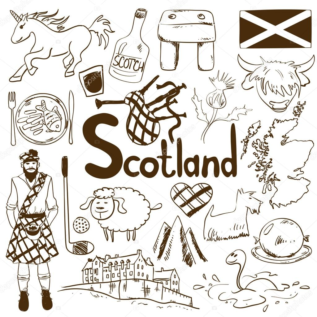 Travel concept of scotland symbols stock vector annykos 120021536 fun sketch collection of scottish icons travel concept of scotland symbols and association vector by annykos buycottarizona Image collections