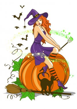 Beautiful witch sitting on the pumpkin