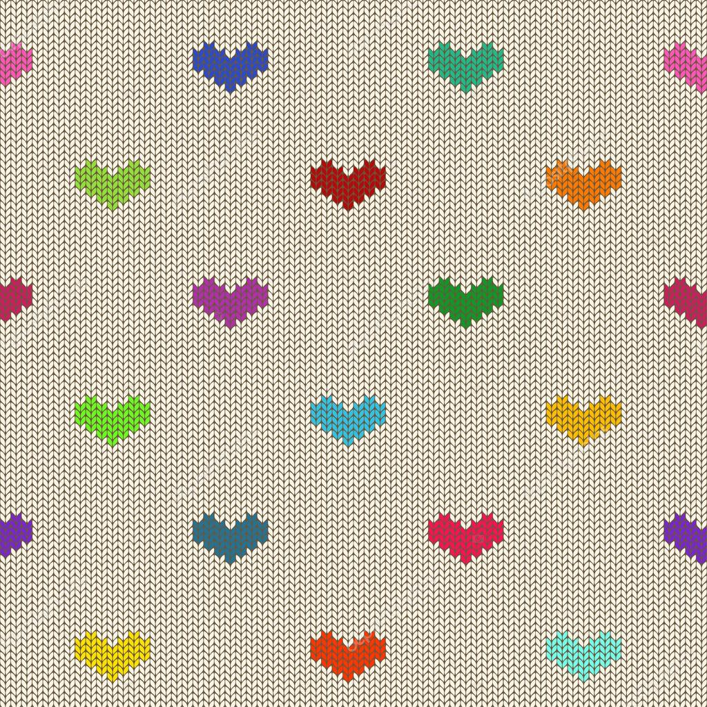 patrones de punto sin fisuras con corazones — Archivo Imágenes ...