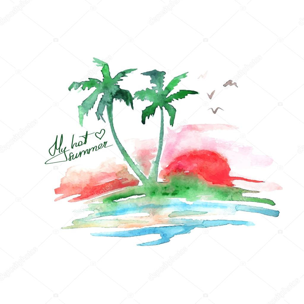 Watercolor tropical island
