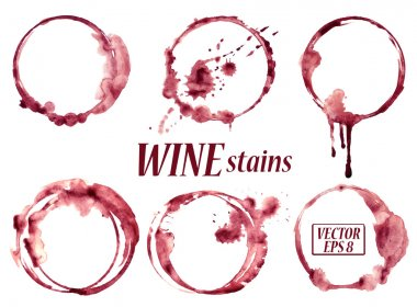 Isolated vector watercolor spilled wine glasses stains icons stock vector