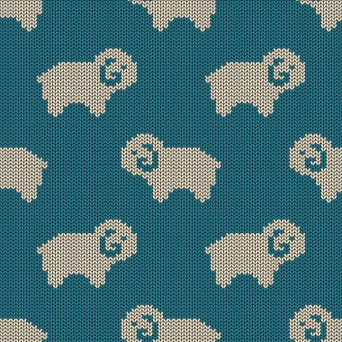 Seamless knitted pattern with sheep