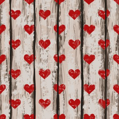 Seamless pattern with hearts and on a retro wooden boards background clip art vector
