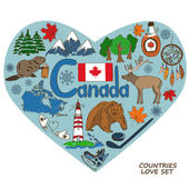 Canadian symbols in heart shape concept.