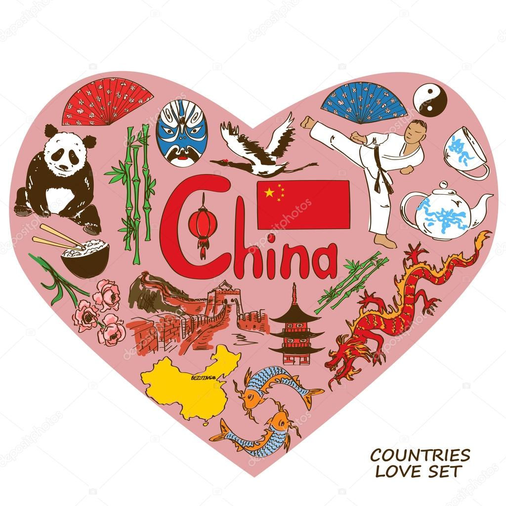 Chinese symbols in heart shape concept.