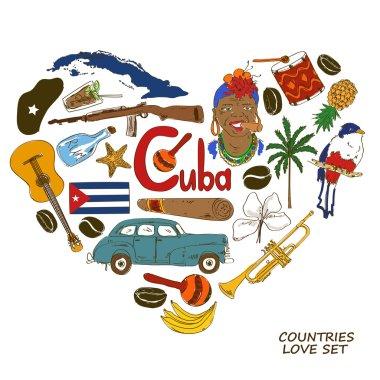 Cuban symbols in heart shape concept