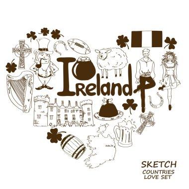 Heart shape concept of Irish symbols