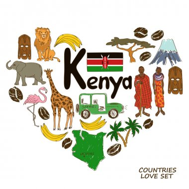 Kenyan symbols in heart shape concept
