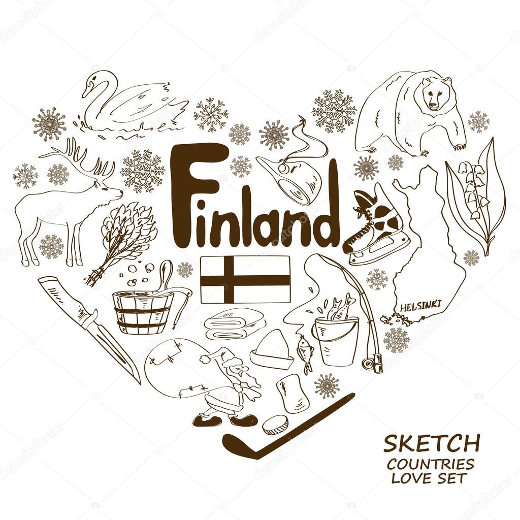 Finland symbols in heart shape concept
