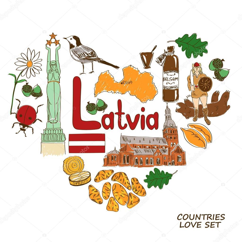 Latvian Symbols In Heart Shape Concept Stock Vector C Annykos
