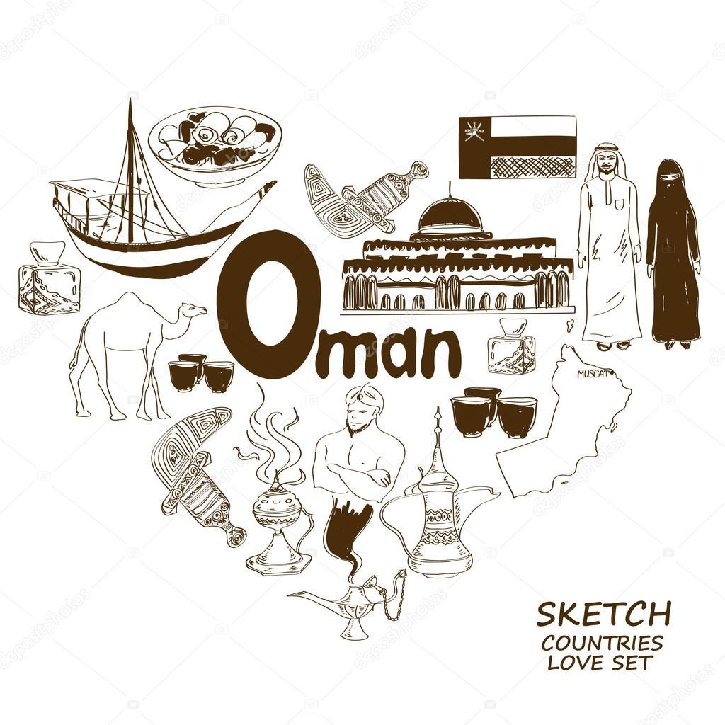 Oman symbols in heart shape concept