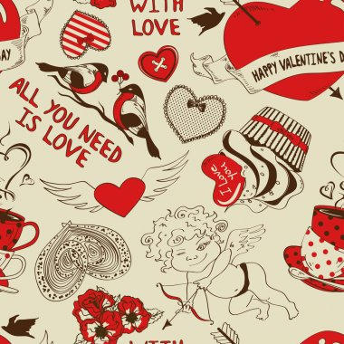 Love seamless pattern with funny cartoon cupid, hearts, birds, cupcake and tea cups. Retro background clip art vector