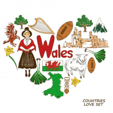 Wales symbols in heart shape concept