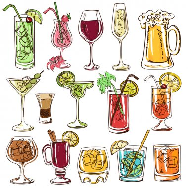 Set of isolated colorful sketch cocktails, beer and wine stock vector