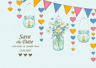 Wedding invitation with rustic decoration of hanging mason jars, flowers, candles and garlands. Save the date concept clip art vector