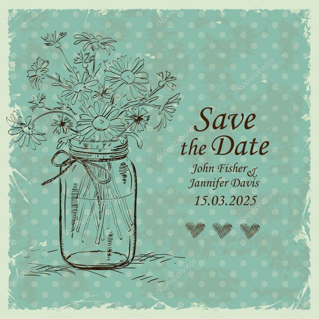 Wedding invitation with mason jar and camomile flowers